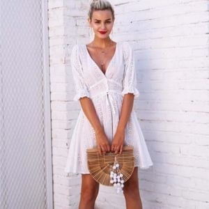 NWOT For Love & Lemons Puff Sleeve Eyelet Dress